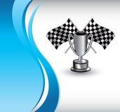 голубые флаги участвуя в гонке волна трофея вертикальная Стоковая Фотография