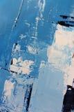 Голубые яркие цвета на холсте Картина маслом Предпосылка абстрактного искусства Картина маслом на холсте Текстура цвета Часть худ стоковое фото rf