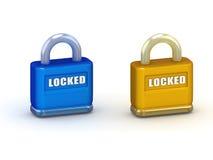 голубые clsed padlocks иллюстрации золота 3d Стоковое Изображение RF