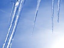 голубые icicles Стоковая Фотография