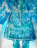 Голубые mittens со снежинками, чертежом ребенка иллюстрация вектора