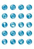 голубыми вектор кнопки стеклянными установленный иконами Стоковое Изображение