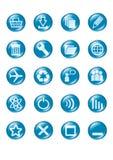 голубыми вектор кнопки стеклянными установленный иконами Стоковые Изображения RF