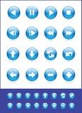 голубыми вектор установленный иконами Стоковая Фотография RF
