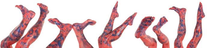 голубыми womans покрашенные ногами красные Стоковая Фотография RF