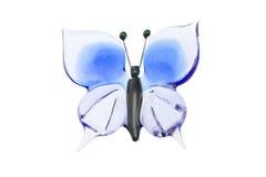 голубым белизна бабочки изолированная стеклом Стоковое фото RF