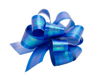 голубым белизна изолированная смычком Стоковое Фото