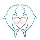 2 голубых дельфина смотря на один другого с красным сердцем с малым голубым дельфином внутри сердца на белой предпосылке иллюстрация штока