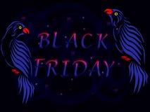2 голубых попугая с чернотой пятницей надписи стоковые фотографии rf