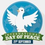 Голубь над глобусом и ленты на международный день мира, иллюстрации вектора Стоковые Фотографии RF