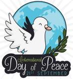 Голубь над глобусом и оливковой веткой на день мира, иллюстрации вектора Стоковые Фотографии RF