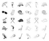 Гольф и атрибуты mono, значки плана в установленном собрании для дизайна Сеть запаса символа вектора гольф-клуба и оборудования иллюстрация штока