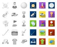 Гольф и атрибуты mono, плоские значки в установленном собрании для дизайна r бесплатная иллюстрация