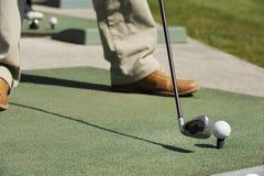 гольф клуба крупного плана шарика Стоковое Изображение RF