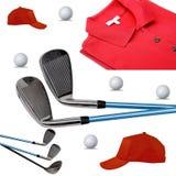 Гольф-клубы, поло, шарик и крышка на белизне стоковая фотография rf