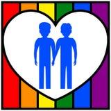 2 гомосексуалиста держа руки на фоне сердца и флага LGBT Гомосексуальная семья иллюстрация вектора