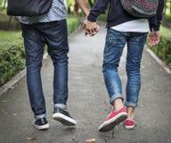 Гомосексуалиста пар влюбленности концепция Outdoors Стоковая Фотография