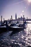 Гондолы Венеции на заходе солнца Стоковые Изображения RF
