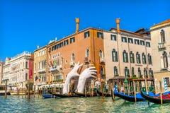 Гондолы Венеция Италия грандиозного канала Стоковые Фотографии RF