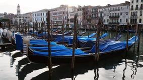 Гондолы и gondoliers на восходе солнца припаркованные в канале в Венеции, Италии сток-видео