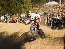 Гонка велосипедиста Fourcross, победитель - Tomas Slavik на окончательном круге - передовица Стоковая Фотография