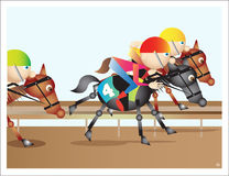 гонка лошадей лошади проводки округляя поворот 3 Стоковые Изображения RF