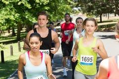 Гонка подходящих людей идущая в парке Стоковая Фотография