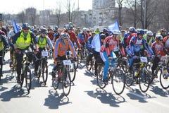 Гонка цикла на улице Санкт-Петербурга Стоковое Изображение RF