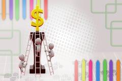 гонка человека 3d к верхней части для иллюстрации доллара Стоковые Изображения RF