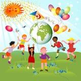 гонки детей различные Стоковые Изображения