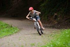 Гонки мальчика на велосипеде через зеленый парк Стоковая Фотография RF