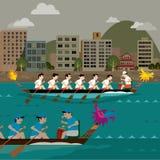 Гонки шлюпки дракона на гавани города иллюстрация штока
