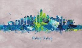 Гонконг Китай, горизонт иллюстрация штока