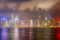 Гонконг, Китай - 22-ое апреля 2018 - Гонконг на ноче от acro стоковое фото
