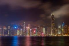 Гонконг, Китай - 22-ое апреля 2018 - Гонконг на ноче от acro стоковые фото