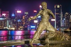 Гонконг, Китай - статуя Брюс Ли на бульваре звезд стоковое фото