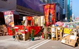ГОНКОНГ, НОЯБРЬ 22: Протестующие положили бога Guan Yu в Стоковое Изображение