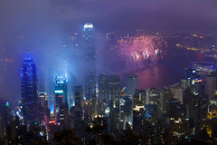 Феиэрверки в Гонконге, Китай Стоковые Фотографии RF