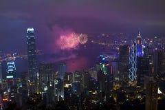 Феиэрверки в Гонконге, Китай Стоковые Изображения RF