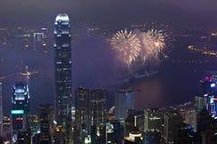 Феиэрверки в Гонконге, Китай Стоковое Изображение RF