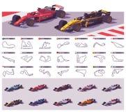 Гоночные треки и автомобили вектора бесплатная иллюстрация