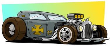 Гоночный автомобиль горячей штанги шаржа ретро винтажный серый иллюстрация штока
