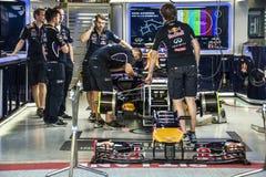 Гоночный автомобиль Bull Формула-1 красный Стоковые Фото