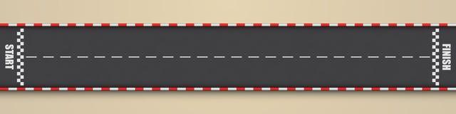 Гоночный трек для езды четверти мили, взгляд сверху мультфильма иллюстрация штока