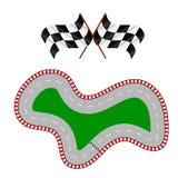 Гоночный трек с 2 флагами иллюстрация вектора