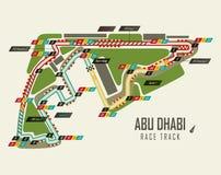 Гоночный трек Формула-1 в взгляд сверху Абу-Даби иллюстрация вектора