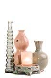 Гончарня и свеча на белизне Стоковая Фотография RF
