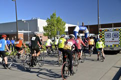 Гонщики велосипеда состязаются в марафоне Fargo Стоковые Фото