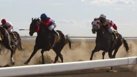 Гонщики лошади участвуя в гонке в замедленном движении акции видеоматериалы