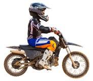 Гонщик на изолированном мотоцикле, Стоковые Изображения